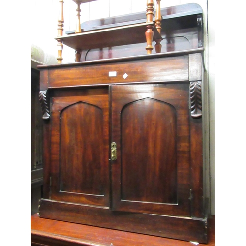 1623 - Victorian mahogany chiffonier with a shelf back above single drawer and pair of panel doors...