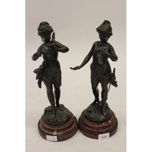 1626 - Nicolas Lecornet, pair of 19th Century French dark patinated bronze figures of girl warriors, signed...