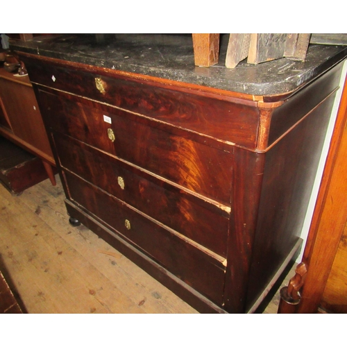 1628 - 19th Century French walnut commode chest with a grey flecked marble top above four long drawers, rai...