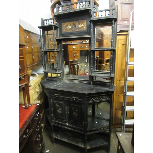 1629 - 19th Century Aesthetic movement black ebonised and painted chiffonier with a mirrored back above can...