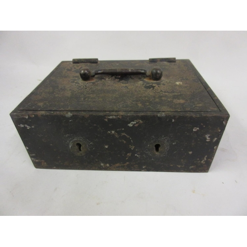 163 - Small 19th Century iron strong box with Chubb locks and keys...