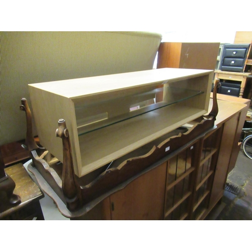 1632 - Light oak and chrome open TV stand...