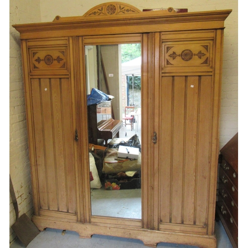 1639 - Late 19th Century ash triple section wardrobe...