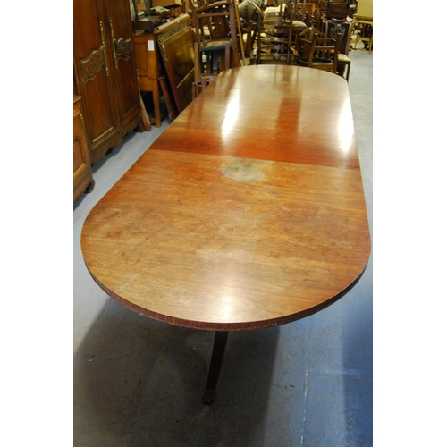 1642 - Mahogany three pillar dining table in George III style circa 1880, with a reeded frieze raised on tu...
