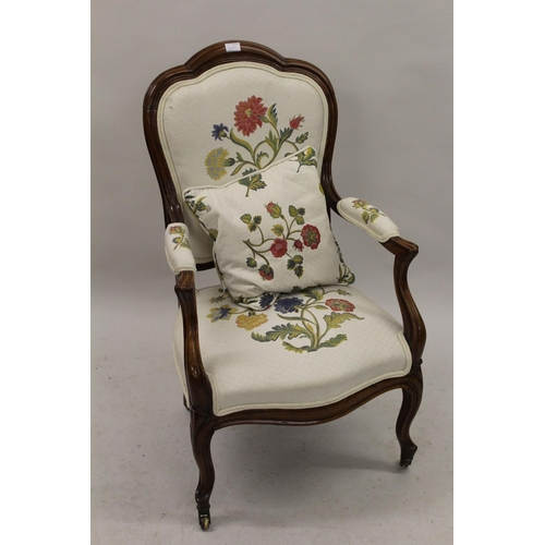 1643 - Pair of 19th Century French walnut open armchairs, the shaped moulded backs above scroll arms and ov...