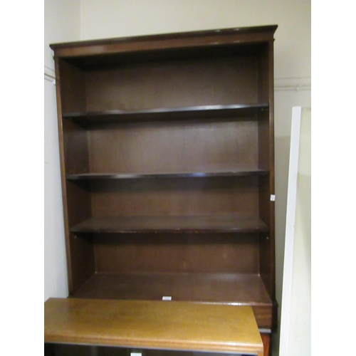 1645 - Reproduction mahogany open bookcase together with a reproduction mahogany standing corner cabinet...