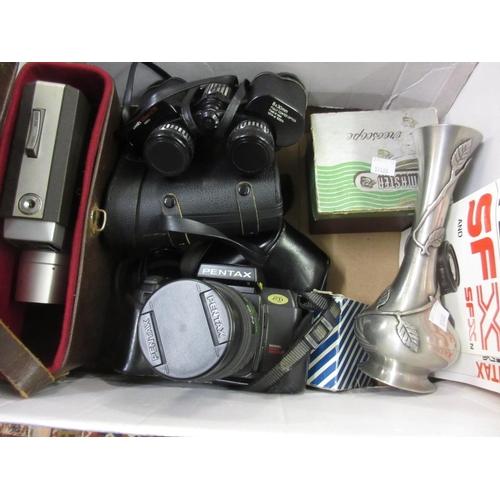 169 - Pentax camera, pair of cased binoculars and a cine camera etc...