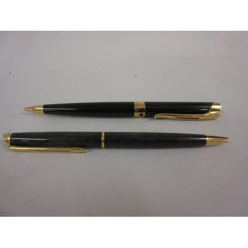 181 - Waterman green marble effect ballpoint pen together with a Waterman green propelling pencil...