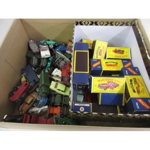 191 - Box containing a quantity of various playworn Lesney diecast vehicles and a quantity of Matchbox Ser...