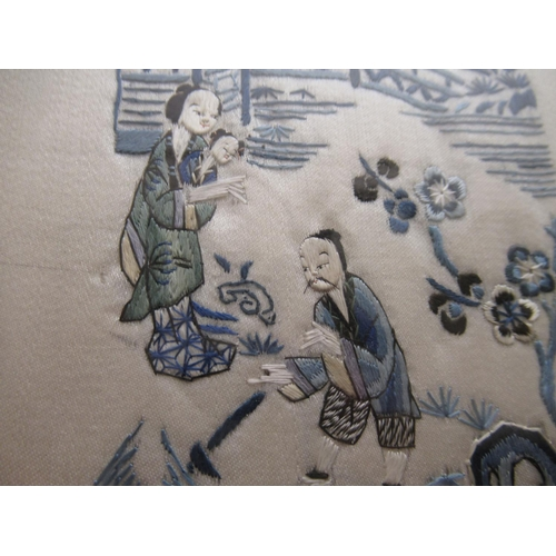 20 - Pair of late 19th or early 20th Century Chinese silkwork sleeve panels depicting figures in landscap...