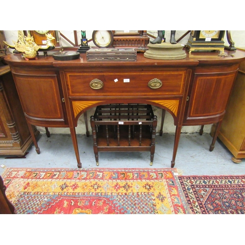 2064 - Good quality Edwardian mahogany satinwood crossbanded semi bow fronted sideboard with a lattice work...