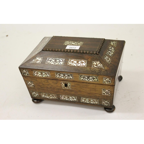 2072 - William IV rosewood mother of pearl inlaid sarcophagus shaped work box...
