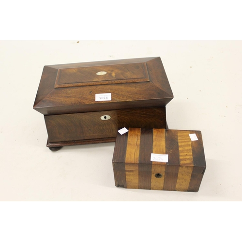 2074 - 19th Century mahogany sarcophagus shaped tea caddy together with a small rosewood banded tea caddy...