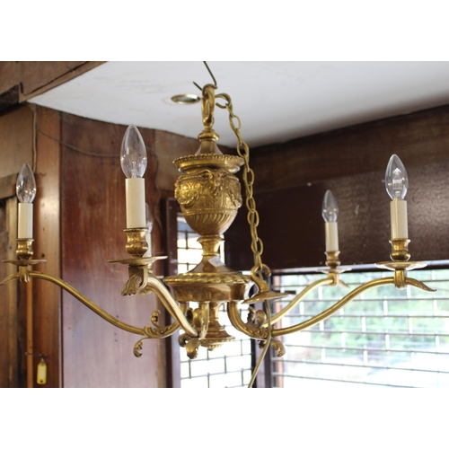 2078 - 20th Century gilt brass five branch chandelier with rams head decoration...