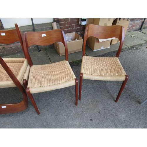 2081 - Set of eight Danish mid 20th Century dining chairs by Niels Moller with shaped rail backs, paper cor...