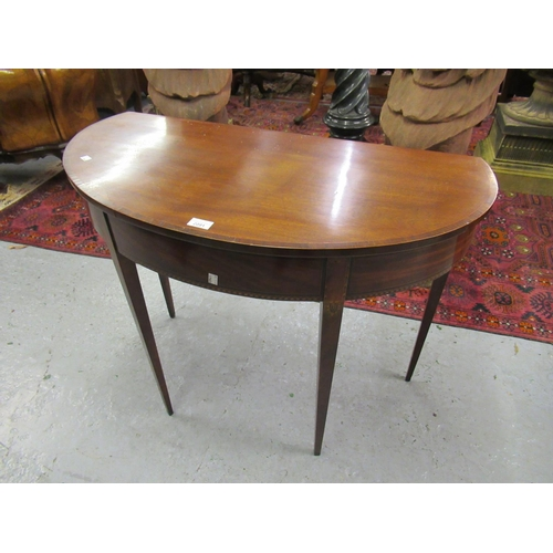 2091 - 19th Century mahogany and line inlaid hall table with a single drop flap rising to form an oval...