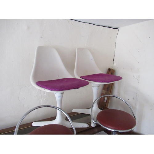 2094 - Pair of Arkana tulip chairs, the moulded seats above white painted alloy bases...
