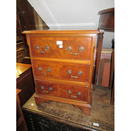 2100 - Pair of reproduction walnut three drawer bedside tables...