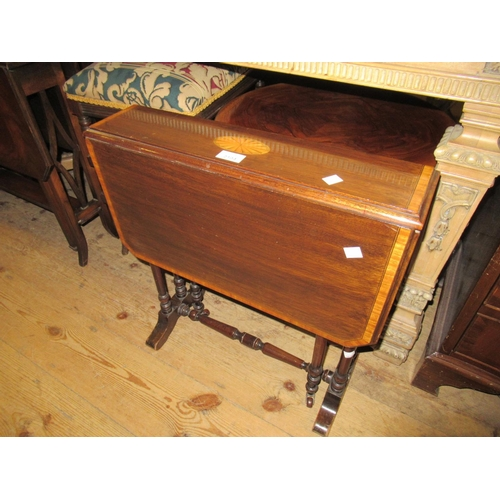 2104 - Small Edwardian mahogany and crossbanded and inlaid drop-leaf Sutherland table...
