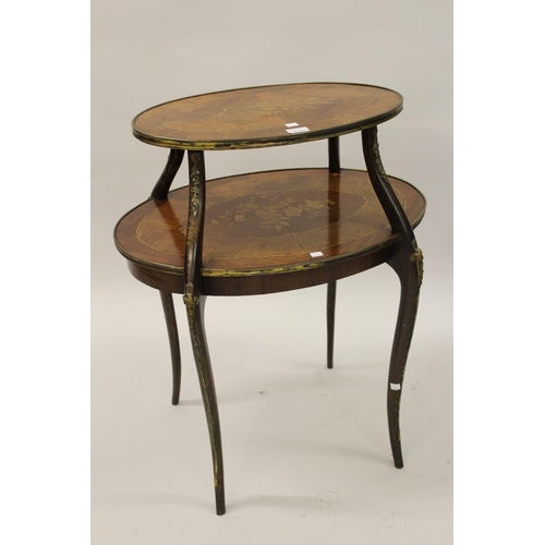 2115 - 19th Century French kingwood and marquetry inlaid oval two tier occasional table / etagere, with gil...