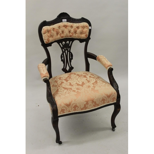 2116 - Edwardian pink button upholstered open arm drawing room chair on cabriole supports...