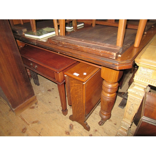 2120 - Late Victorian mahogany wind-out extending dining table, the moulded top above turned and fluted sup...