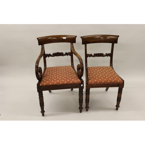 2122 - Matched set of eight (six plus two) George IV mahogany dining chairs, the rail backs above drop-in s...