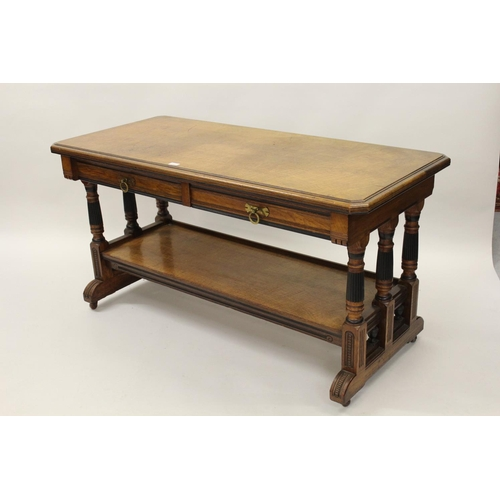 2123 - Lamb of Manchester, good quality pollard oak library table, the moulded top above two frieze drawers...