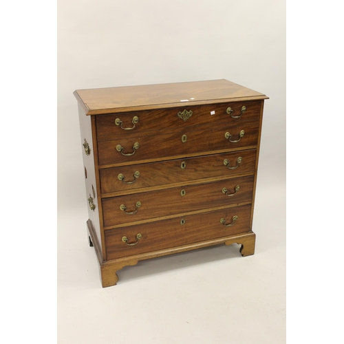 2124 - 19th Century mahogany two part campaign secretaire chest, the moulded top above a twin dummy drawer ...