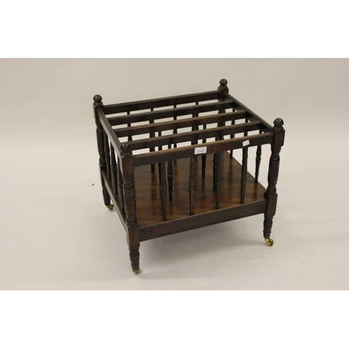 2129 - Late 19th Century mahogany five division Canterbury having turned spindles on low turned tapering su...