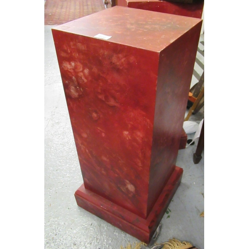 2130 - Pair of faux marble painted wooden square columns on plinth bases, 12ins square x 32ins high...