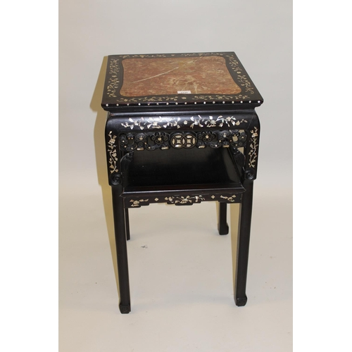 2131 - Chinese hardwood mother of pearl inlaid jardiniere stand having square rouge marble insert top (at f...