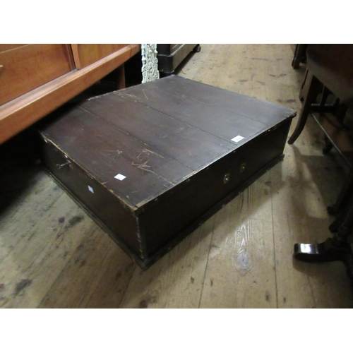 2134 - Large 19th Century stained pine under bed / document storage box, with brass side carrying handles, ...