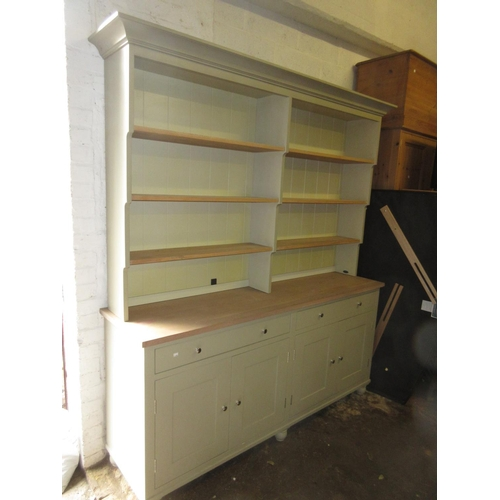 2143 - Good quality green painted open rack dresser with four shelves above two long drawers and four cupbo...