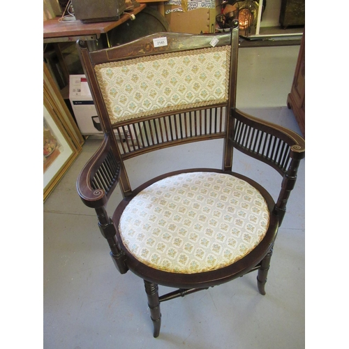 2145 - Edwardian mahogany and marquetry inlaid drawing room elbow chair with a spindle and padded back, ova...