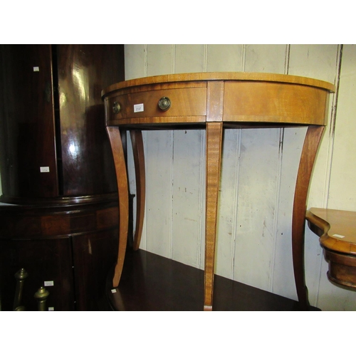 2147 - Reproduction mahogany half round side table with single frieze drawer on cabriole supports...