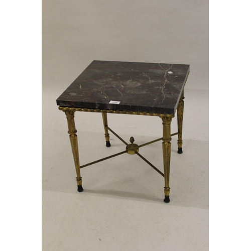 2149 - Reproduction brass and marble square top coffee table together with a small figured walnut drop-leaf...