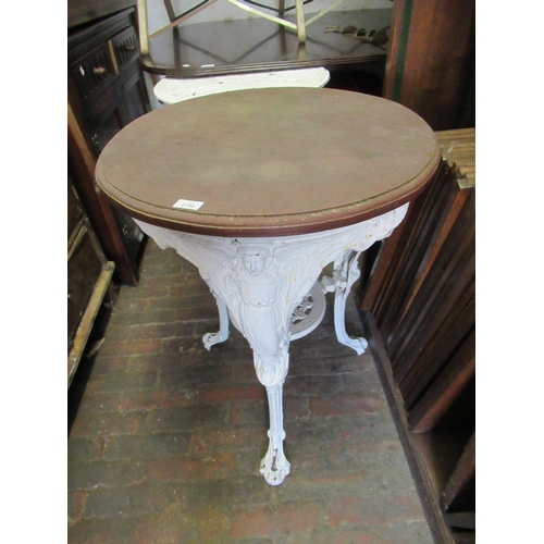 2150 - Late 19th / early 20th Century cast iron white painted garden table with mahogany moulded top, cast ...