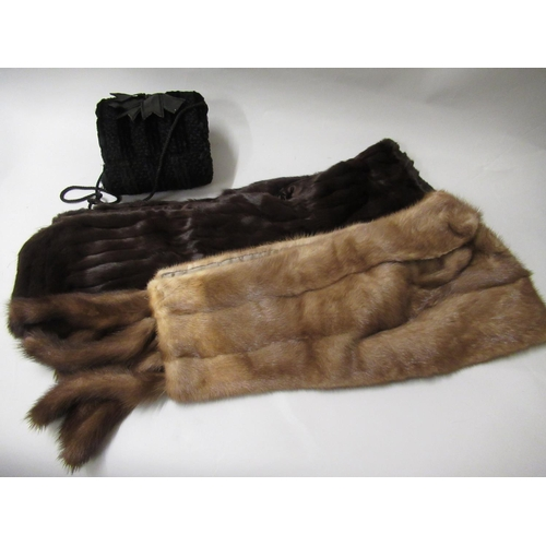 27 - Mink stole, two other fur stoles, a fur muff and a mid tan fur coat...