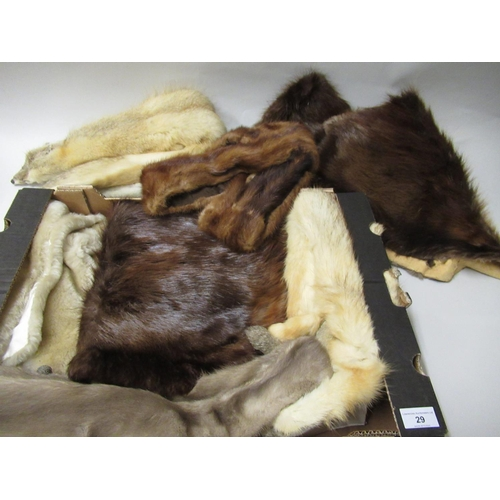 29 - Box containing a quantity of various fur stoles and muffs etc...