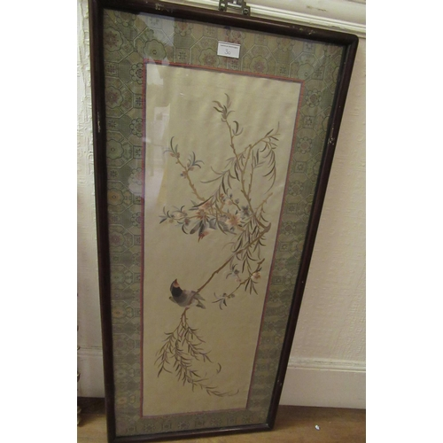 30 - Chinese silk picture of birds in foliage in a patterned border, hardwood framed, 18ins x 39.5ins, to...