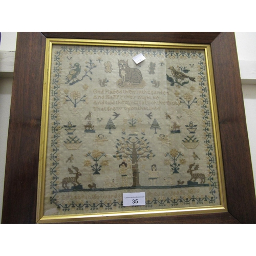 35 - William IV needlepoint sampler of pictorial motto and Adam and Eve design, signed Elizabeth Howard, ...
