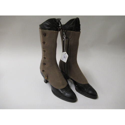 37 - Pair of Victorian black leather boots with spats...
