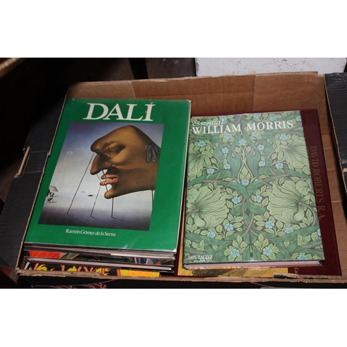 379 - Two boxes of approximately fifteen good quality art books including Picasso Dali, David Roberts, Arn...