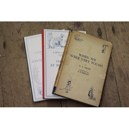 381 - One volume A.A. Milne, 'When we were very Young ', 14th Edition 1926, together with two facsimile vo...