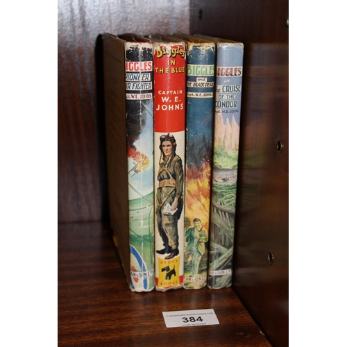 384 - Captain W.E. Johns, four volumes with dust jackets, ' Biggles ', ' Pioneer Air Fighter ', ' The Crui...