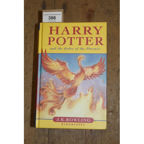 386 - Hardback First Edition of ' Harry Potter and The Order of the Phoenix '...