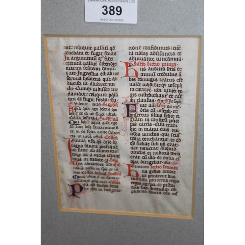 389 - Framed Medieval leaf of text from a manuscript inscribed verso ' Leaf from a Breviary - Cologne, 14t...