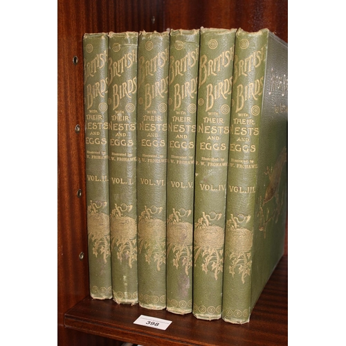398 - Six volumes ' Birds of Great Britain and Ireland ' by A.G. Butler, P.H.D., with green tooled cloth b...