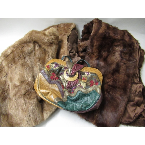 40 - Ladies handbag by Sharif, U.S.A. together with various fur coats, fur stoles and a cream floral beds...